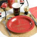 10 Assiettes Joyeuses Fêtes en carton - Rouge