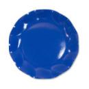 10 assiettes à dessert rondes en carton bleu azur party line 21 cm
