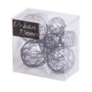 7 boules de déco en fils de métal marron