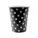 10 gobelets à pois en carton - noir