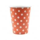 10 gobelets à pois en carton - orange