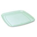5 plateaux en plastique rigide carré vert d\'eau 35 cm