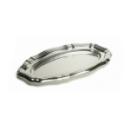 5 plateaux en plastique rigide ovale argent 27x40 cm