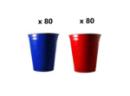 160 Gobelets AMERICAN Rouge et Bleu 53cl - ORIGINAL CUP