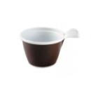 50 tasses à café en plastique marron/blanc avec anse 10 cl