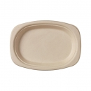 50 Assiettes ovales biodégradables en bagasse marron 22 cm