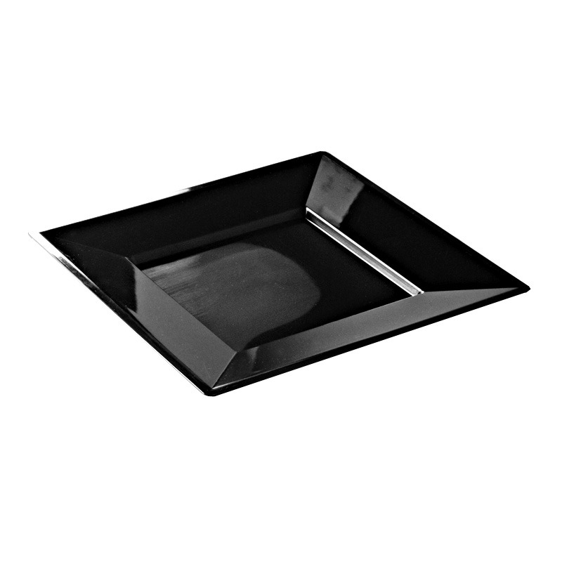 12 assiettes en plastique rigide carr noir prestige 24 cm. Black Bedroom Furniture Sets. Home Design Ideas