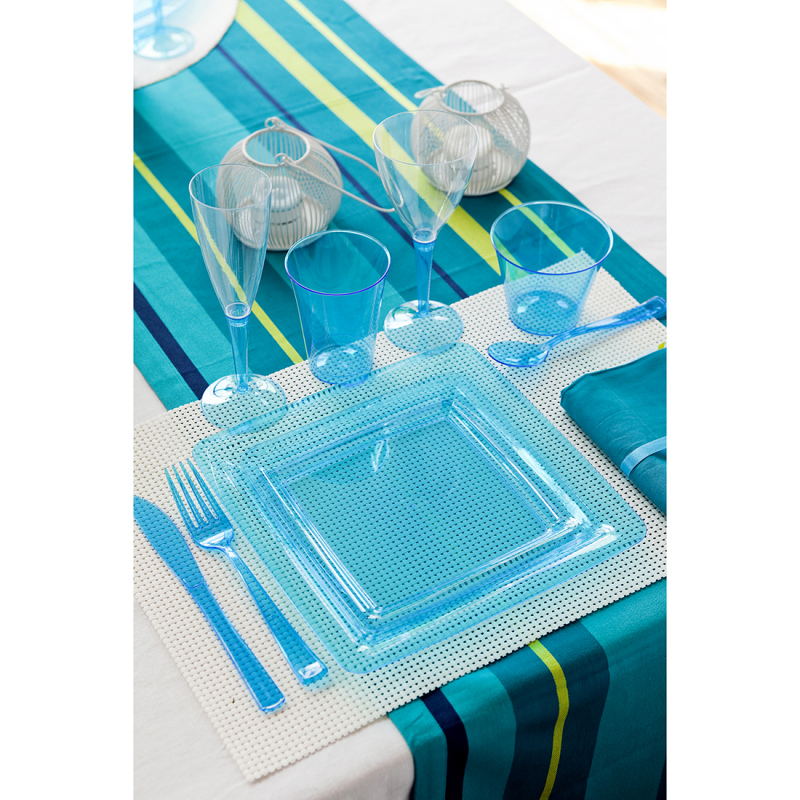 assiette carr e en plastique bleu taille 18x18 cm. Black Bedroom Furniture Sets. Home Design Ideas