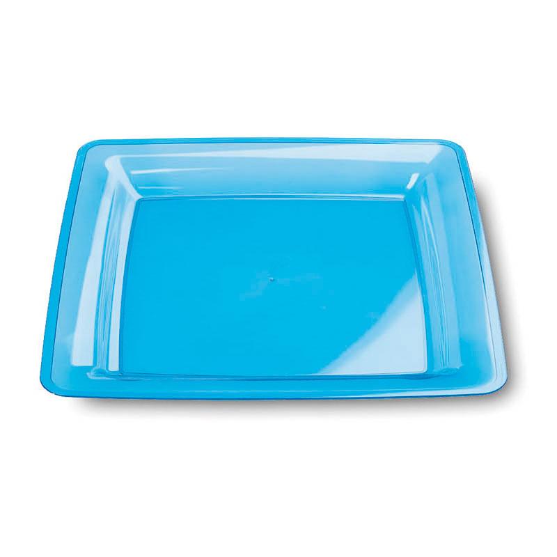 Assiettes En Plastique Rigide Carr Turquoise 18x18 Cm