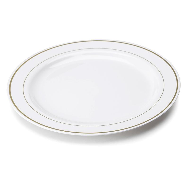Grande Assiette Plastique Rigide Blanche Liser Or 26cm