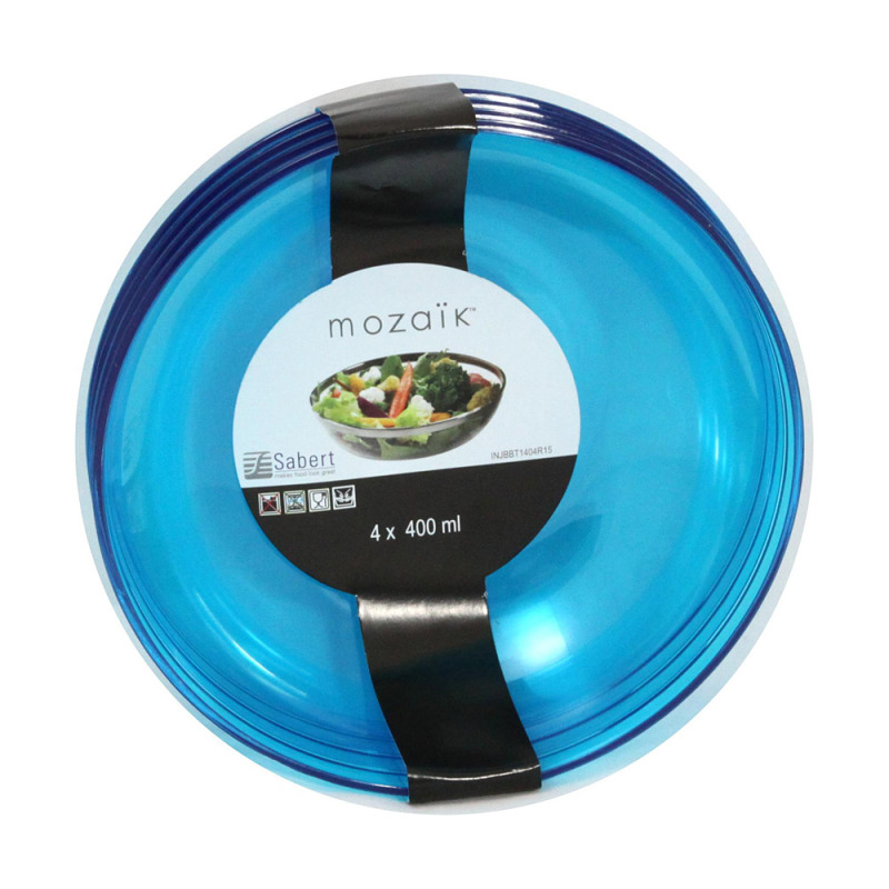 Saladier de 3.5 litres en plastique rigide bleu turquoise